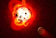 A rocky planet orbits the red dwarf star Proxima Centauri (Courtesy of NASA, ESA, G. Bacon STSci)
