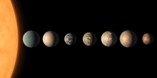 An artist's depiction of Trappist exoplanets in comparison to Earth. The Trappist planets are those in their star's habitable zone. (Photo: NASA)