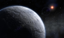 Artist's concept of an ice-covered planet in a distant solar system, resembling what early Earth may have looked like it the right mix of microbial metabolisms and volcanic processes hadn't warmed the climate. Source: European southern observatory (EXO).