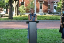 College of Sciences Dean Susan Lozier welcomes guests to the September Sciences Celebration (Photo Renay San Miguel)