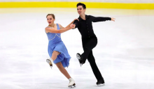 Tyler Vollmer (right) skates with ice dance partner Breelie Taylor.