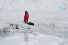 Frances Rivera-Hernández taking field samples in Antarctica in 2015 (Photo Frances Rivera-Hernandez)