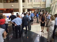 The Ford Environmental Science and Technology Building atrium was abuzz during the poster session for the Summer 2017 Internship/Co-op Carbon Reduction Challenge. (Photo by Renay San Miguel)